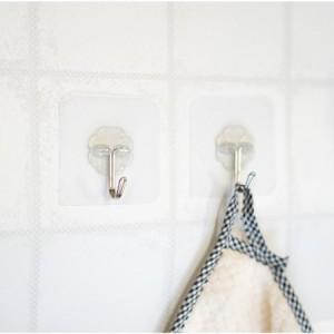 【ウォールハンガーフック】粘着シール 強力粘着 壁掛け フック 貼り付け跡なし ミニステンレスフック 透明なフック 壁傷つけない 鍵かけ
