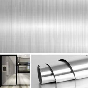 40cmx5m 金属の質感壁紙シール ステンレスシート 壁紙シール メタリック シート リメイクシート カッティングシート 防水 はがせる 壁紙