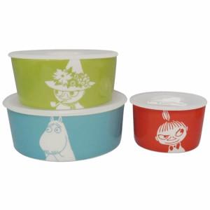 新生活 プレゼント ムーミン リトルミイ スナフキン 保存容器 3点セット レンジ対応 フタ付き 陶器製 北欧風デザイン かわいいキッチン用