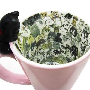 chaton chaton マグ (マグカップ) ピンク (ネコ/黒猫)