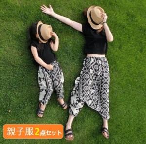 親子ペアルック 女の子 ママ レデイース 韓国子供服 親子ペアルックファッション 可愛いデザイン 家族お母さん子 お揃い服 Tシャツ+パン