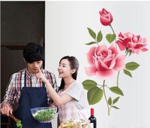 ウォールステッカー【ピンクのバラ】壁紙 シール 賃貸OK はがせる 剥がせる DIY 模様替え インテリア 薔薇 ばら ローズ