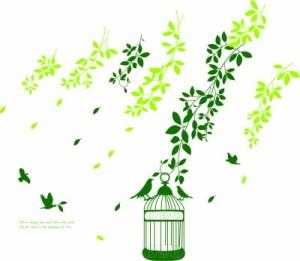 ウォールステッカー【そよ風と鳥かご】壁紙 シール 賃貸OK はがせる 剥がせる DIY 模様替え インテリア 緑 木 グリーン 葉っぱ リーフ ツ