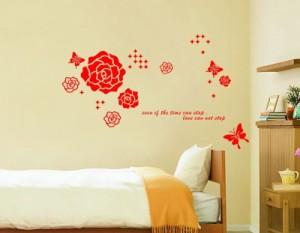ウォールステッカー【赤バラ】壁紙 シール 賃貸OK はがせる 剥がせる DIY 模様替え インテリア 薔薇 ばら ローズ 蝶々 ちょうちょ バタフ