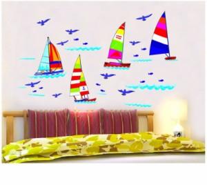 ウォールステッカー【ヨット】壁紙 シール 賃貸OK はがせる 剥がせる DIY 模様替え インテリア 海 マリン シー 帆 船 かもめ 鳥 バード