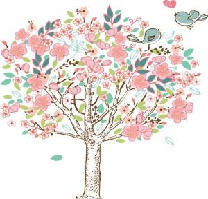 ウォールステッカー【愛の樹】壁紙 シール 賃貸OK はがせる 剥がせる DIY 模様替え インテリア お花 フラワー 桜 さくら サクラ 梅 うめ