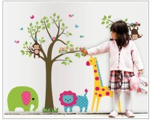 ウォールステッカー【かわいい動物の樹】壁紙 シール 賃貸OK はがせる 剥がせる DIY 模様替え インテリア ツリー 木 アニマル 象 ゾウ 猿