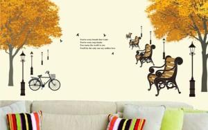 ウォールステッカー【イチョウ並木】60×90cm 壁紙 シール 賃貸OK はがせる 剥がせる DIY 模様替え インテリア 木 ツリー 銀杏 いちょう