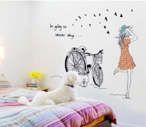 ウォールステッカー【サイクリング】壁紙 シール 賃貸OK はがせる 剥がせる DIY 模様替え インテリア 鳥 渡り鳥 バード bird 自転車 チャ