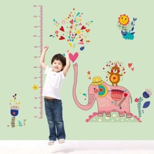 ウォールステッカー【ピンクの象の身長計】壁紙 シール 賃貸OK はがせる 剥がせる DIY 模様替え インテリア 動物 アニマル ゾウ ぞうさん