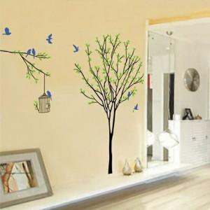 ウォールステッカー【幸せの青い鳥】壁紙 シール 賃貸OK はがせる 剥がせる DIY 模様替え インテリア 鳥 バード 小鳥 ブルーバード