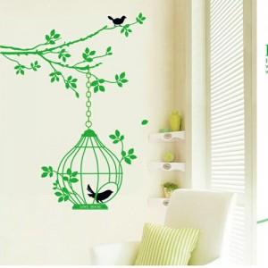 ウォールステッカー【緑の鳥籠】60×90cm 壁紙 シール 賃貸OK はがせる 剥がせる DIY 模様替え インテリア 木 緑 葉っぱ グリーン 小鳥