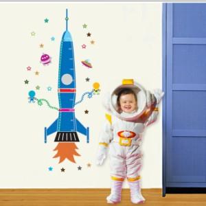 ウォールステッカー【ロケット身長計】壁紙 シール 賃貸OK はがせる 剥がせる DIY 模様替え インテリア 子ども部屋