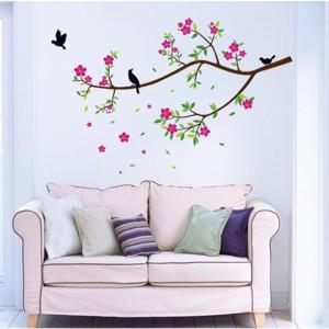 ウォールステッカー【バード・ツリー】壁紙 シール 賃貸OK はがせる 剥がせる DIY 模様替え インテリア 木 ツリー 植物 ピンク