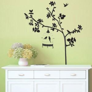 ウォールステッカー【鳥かご】壁紙 シール 賃貸OK はがせる 剥がせる DIY 模様替え インテリア 木 ツリー 植物 モノトーン