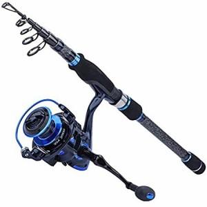 Sougayilang 伸縮式釣り竿とリールコンボ 軽量24トングラファイトロッドとスピニングリール付き 8.84フィートロッド ZM3000リール付