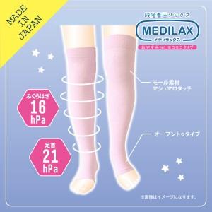 MEDILAX レディースソックス 段階着圧ソックス おやすみタイプ もこもこ 暖か 日本製 メディラックス 靴下 送料無料