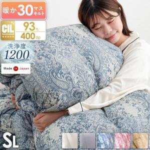 布団 羽毛布団 シングル ロング 日本製 ホワイト ダック ダウン93%  7年保証  SEK消臭・抗菌 アレルGプラス&2倍洗浄 400dp以上 CILゴー