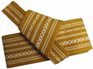 簡単粋なメンズ男物男性ワンタッチ結び角帯献上柄金茶色 浴衣&着物に