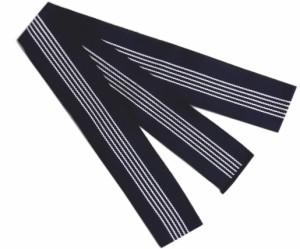 浴衣平帯(丹前帯)紺色地白ライン細 日本製 旅館温泉ホテル 寝巻きゆかた男性用女性用