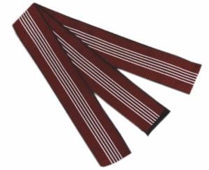 浴衣平帯(丹前帯)赤色地白ライン細 日本製 旅館温泉ホテル 寝巻きゆかた男性用女性用