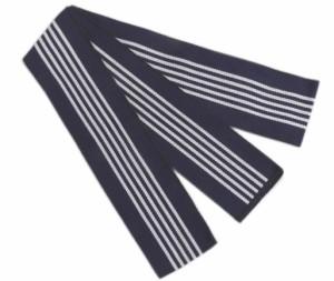 浴衣平帯(丹前帯)紺色地白ライン太 日本製 旅館温泉ホテル 寝巻きゆかた男性用女性用