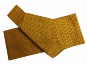 簡単粋なメンズ男物男性ワンタッチ結び角帯金茶色地市松ライン 浴衣&着物に 日本製