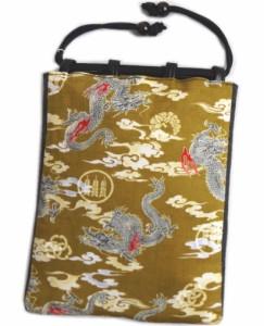 粋なメンズ男物男性和柄信玄袋(巾着)バッグマチ編込金茶色地龍雲紋 日本製 木玉付 浴衣&着物に