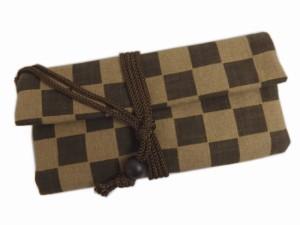 メンズ男物男性和柄道中財布サイフ濃茶色モカ茶市松 和装着物・浴衣&普段着に 日本製