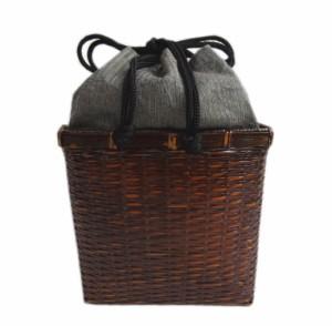 かご 巾着 竹茶 籠 バッグ 信玄袋 メンズ 男物 男性 浴衣 甚平 着物 粋 グレー茶地ライン