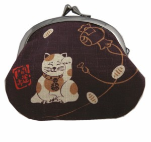 がま口 財布 サイフ 小銭入れ 和柄 日本製 濃茶色地福招き猫ねこ 男性 女性用 開運亭 着物 和装 浴衣