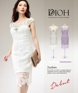 b5582e1d154f4 DIOH ディオ シースルーレース パールビジュー装飾 ワンピース ドレス   送料無料 キャバドレス