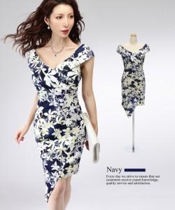 027be545c2590  2サイズ カシュクールVネック フラワープリント ストレッチ ワンピース ドレス   キャバドレス 大きい