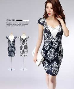 01000c438b892  2サイズ モノトーンフローラル ストレッチ タイト ワンピース ドレス キャバドレス 袖あり 大きい