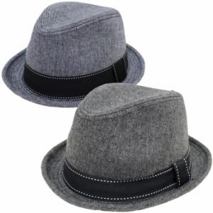 帽子 メンズ 大きめ 61cm対応 シャンブレーマニッシュ中折れハット大きいサイズ 帽子 exas