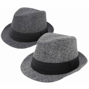 大きいサイズ 帽子 メンズ 中折れハット 秋冬 サイズ調節可能 61cm対応 ジャガードハイバック