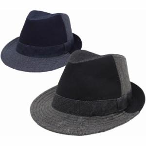 帽子 メンズ レディース 中折れハット サイズ調節可能 クレージーデニムハイバック exas