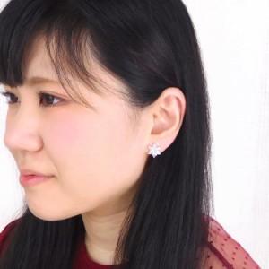 ピアス 金属アレルギー対応 ダブルフラワーピアス 両耳用 ジュエル パーティー ゴージャス サージカルステンレス レディース