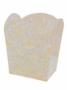 """""""【ゴミ箱】ホワイトグリッターローズ ~バラ柄のアクリル製ダストボックス。上品な柄と色使いが素敵♪~ [バラ雑貨] 薔薇雑貨 バラ雑"""""""