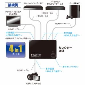 OHM 4ポート HDMIセレクター 黒 AV-S04S-K 05-0577 オーム電機