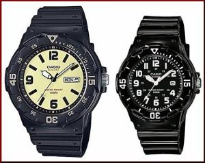 312a37fbbf CASIO【カシオ/スタンダード】アナログクォーツ ペアウォッチ 腕時計 ラバーベルト ブラック 海外モデル