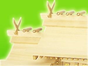 納期お問い合わせ下さい★[反り屋根タイプの神棚(日本製)]ヒバ流れ屋根三社 瑞光 中(反り屋根・組み勾欄・峰柱付) 172 #08