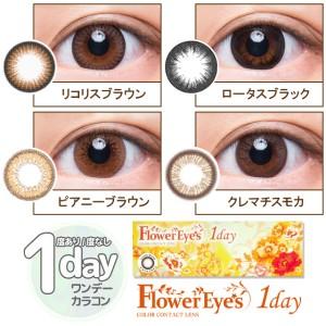 【メール便OK】 フラワーアイズ ワンデー 1箱[10枚] ワンデー 1day 度あり カラコン ブラック ブラウン グレイ FlowerEyes
