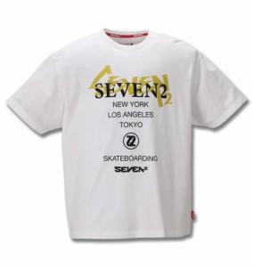 大きいサイズ メンズ SEVEN2 半袖 Tシャツ ホワイト 1268-0213-1 3L 4L 5L 6L