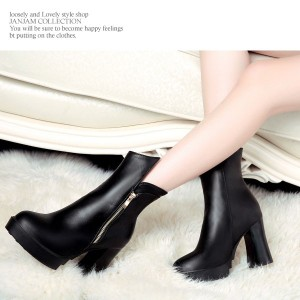 大きいサイズ レディース 靴 ショートブーツ【24.5〜26.5cm】プラットフォーム チャンキーヒール 太ヒール ハイヒール sh-saw-bt0156