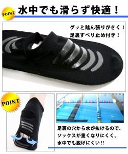 FILA(フィラ) アクアソックス 水中ウォーキング 靴下 くるぶし丈 フィットネス水着 F レディース フリーサイズ 308203 メール便送料無料