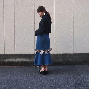 SALE 40%OFF ハニーミーハニー HONEY MI HONEY ribbon skirt リボンスカート レディース ボトム スカート デニムスカート 膝下