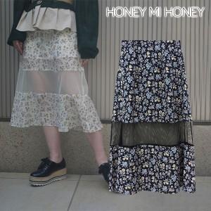 SALE 40%OFF ハニーミーハニー HONEY MI HONEY flower-print skirt スカート 膝下スカート 花柄 フレアスカート レディース 18s-vg-13