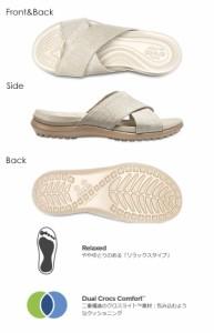 クロックス crocs Capri Shimmer Cross-Band Sandals サンダル レディース 靴 シューズ フラット コンフォートサンダル フラットサンダル