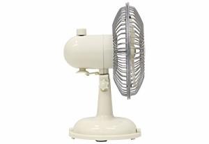 レトロ調 卓上扇風機 ACアダプター付 首振り機能付き ホワイト WS-S01WH